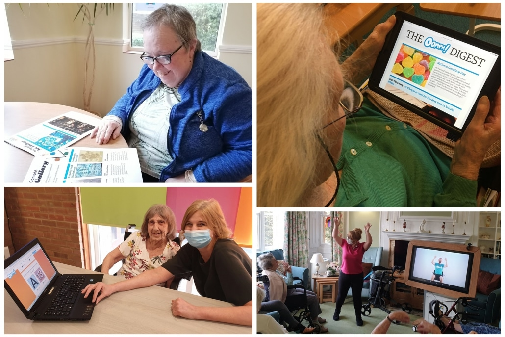 Care home residents across the Healthcare Management Solutions portfolio enjoying the Oomph On Demand online activities platform.